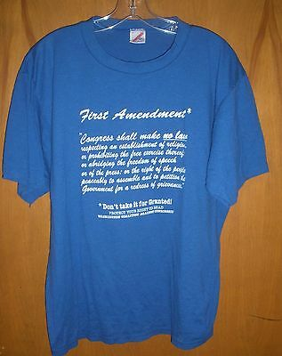 T-Shirt 1st Amendment Blue sz XXL Vtg 1981 Right to Read NCTE EUC #F48