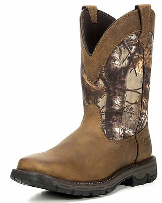 Ariat Mens Conquest Waterproof Plain Toe Work Hunting Western Boots 10016340