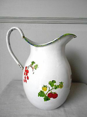 ANTIQUE FRENCH enamelware WHITE Water PITCHER 1930's
