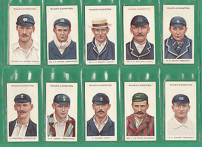 Cricket  -  Wills  -  Rare  Set  Of  25  Cricketers  Large  's'  Cards  -  1908