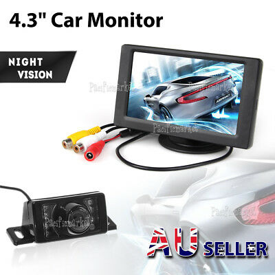 "Car Rear View Kit 4.3"" Tft Lcd Monitor + Ir Night Vision Car Reversing Camera Au"