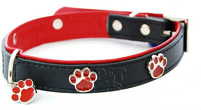 LUXURY Strong Dog leather Collar,With Paw Design & Tag Adjustable Collar