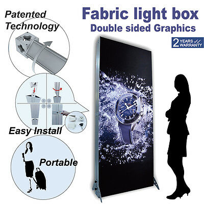 Fabric Tension LED Light Box Portable Trade Show Display Tower Double Graphics