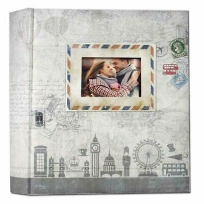 Ulisse Grey 6.5x4.5 Slip In Photo Album - 200 Photos Overall Size 8.5 x 9.5""