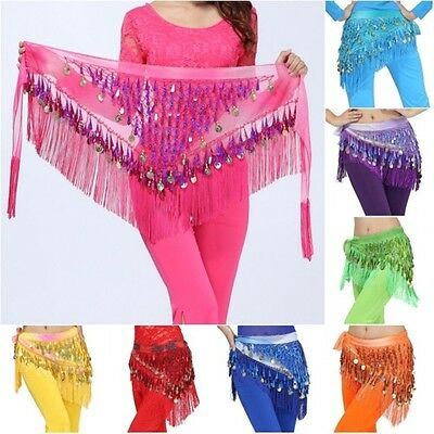 AU Belly Dance Costume Hip Scarf Skirt Belt Gold Coins Dancer Dancing SKIRT Wrap