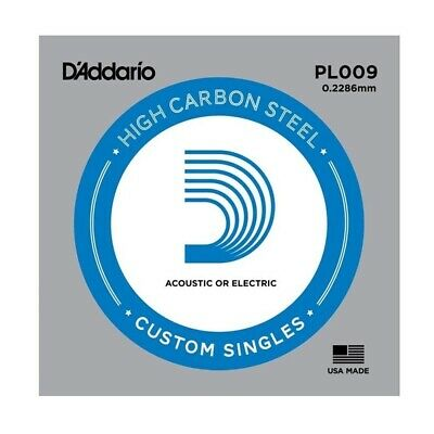 10 x D'Addario PL009 Single Plain Steel .009 Acoustic or Electric Guitar Strings