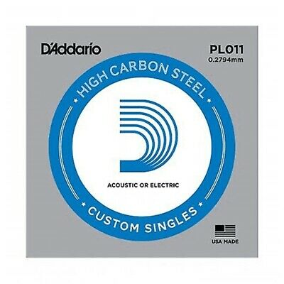 10 x D'Addario PL011 Single Plain Steel .011 Acoustic or Electric Guitar Strings
