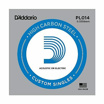 5 x D'Addario PL014 Single Plain Steel .014 Acoustic or Electric Guitar Strings