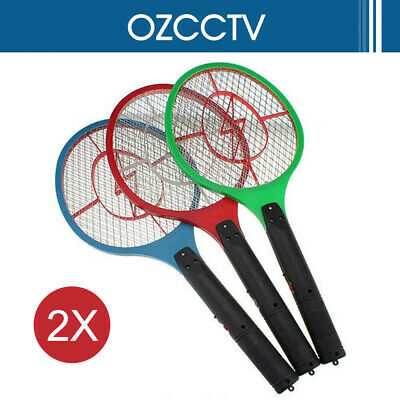 2X Electronic Fly Swatter Mosquito Bug Insect Kill Zapper Racket RANDOM COLOR