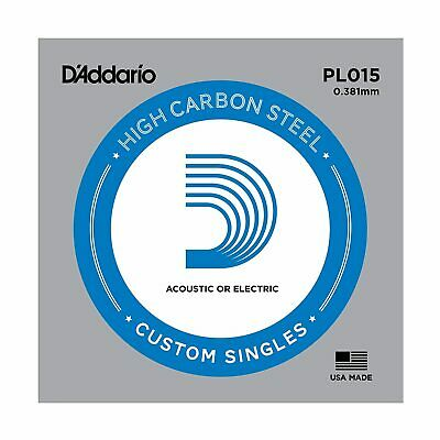 5 x D'Addario PL015 Single Plain Steel .015 Acoustic or Electric Guitar Strings