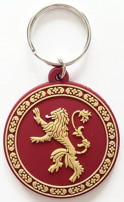 Game Of Thrones Lannister Lion Logo TV Show Red Rubber Keyring Keychain Official
