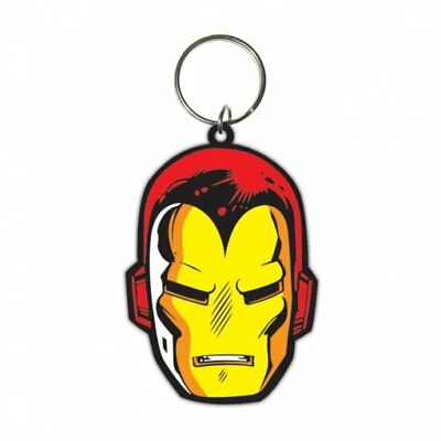 Iron Man Face Head Movie Film Avengers Marvel Rubber Keyring Keychain Official