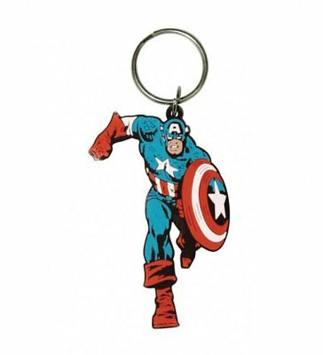 Captain America Full Figure Retro Film Movie Rubber Keyring Keychain Official