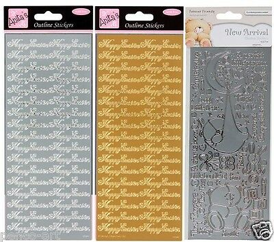 Anitas Outline Stickers Happy Easter gold silver or New Arrival baby Christening