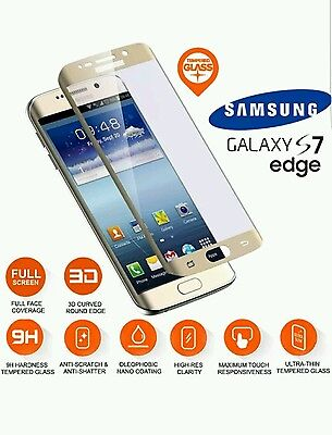 GOLD Samsung Galaxy S7 Edge 9H Hardness 3D Cover Tempered Glass Screen Protector