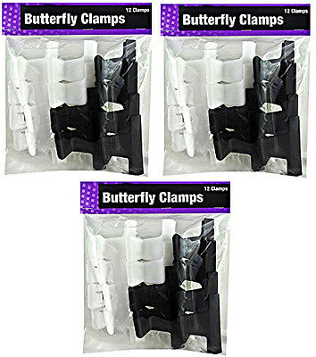 "Value Lot 3pks (36pcs) Butterfly Hair Clips 2"" Black White Sectioning BrandsVary"