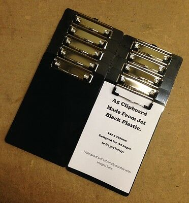 Ten x A5 Jet Black Shiny Plastic Clipboard With Strong Chrome Clip 229x152mm