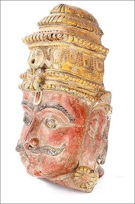 Antique Wooden Mask. Carved and Polychromed. South of Asia, Circa 1900