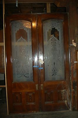 Awesome Antique Dbl Pocket/ Entry Door Set Etced & Wheel Cut Glass 1884 Mansion