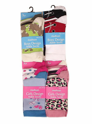 Madison Girls or Boys 3 pack of Ankle socks Sizes 6-8.5, 9-12 & 12.5-3.5 SALE