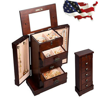 HOME JEWELRY Cabinet Wood Armoire Box Storage Chest Stand Organizer