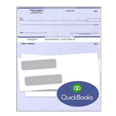 500 Quickbooks Quicken Checks With 500 Compatible Tinted Double Window Envelopes