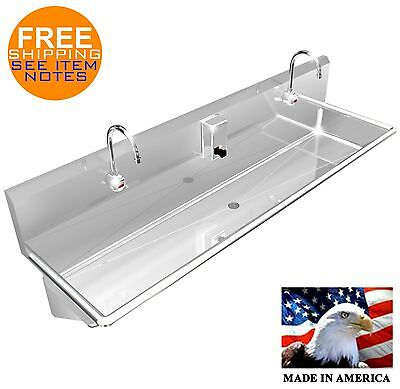"Wash Up Hand Sink 2 Users Multi Station 60"" Elec Faucet Stainless Steel 304"
