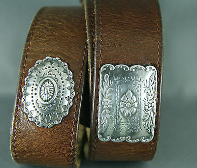 Vintage Conch Style Leather Belt Size 33 Silver Tone Brown Riveted