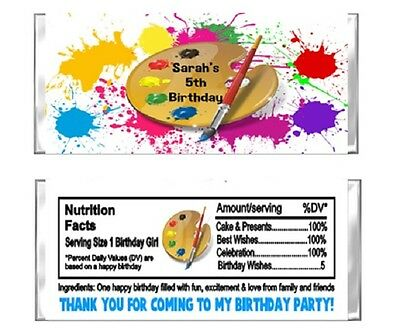 Art Paint Painting Birthday Candy Wrappers Party Favors Personalized Custom