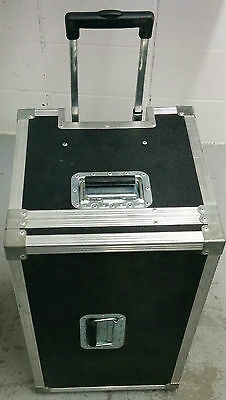 Black roadcase with retractable handle and wheels