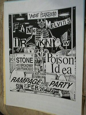 Fang Melvins Dr. Know Poison Idea Rampage Party Flyer Violent Playground SF 1988