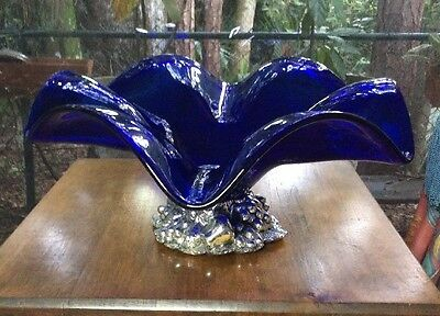 Vintage Cool Large Flower Shaped Cobalt Glass Bowl with Sculpted Metal Base