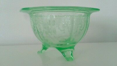 Green Depression Glass Footed Bowl Miss America