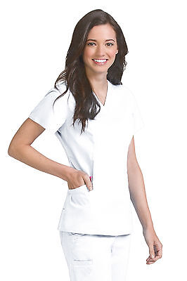 Vivi by Med Couture Women's Ivy V-Neck Princess Seam Scrub Top 5401-White