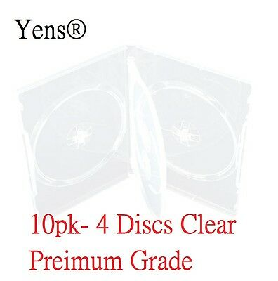 Yens® 10 Premium 4 Disc Clear CD DVD Case 14MM Movie Box 10#CDVD4