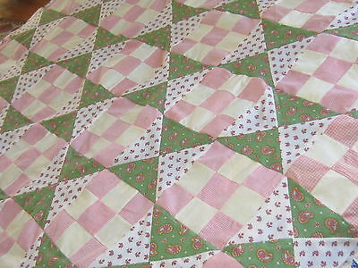 Very Cute! Vintage Pink and Green Nine-Patch Quilt Top