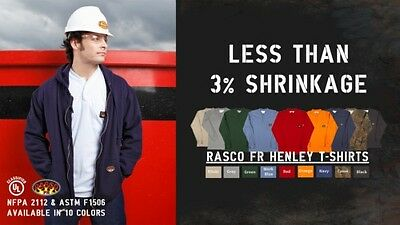 Brand New! Rasco FR Flame Resistant Long Sleeve Henley T-Shirts