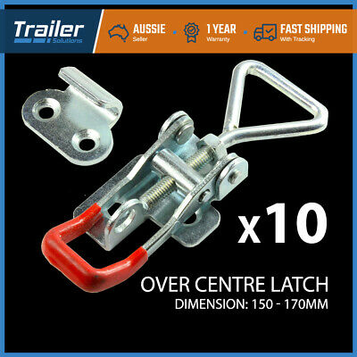 x10 LARGE ZINC FINISH TOGGLE LATCH OVER CENTRE FASTNER TOOL BOX,CAMPER TRAILER