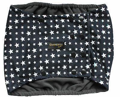 Glenndarcy Male Dog Belly Band I Waterproof Fabric I Blue Stars Poppers
