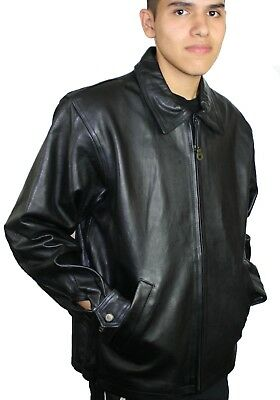 Men's genuine soft cow hide zipper closure fashion warm leather jacket #642