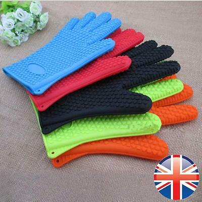 *UK Seller* Silicone Heat Resistant Kitchen Oven Glove BBQ Holding Baking Mitts