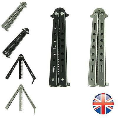 *UK Seller* Stainless Steel Butterfly Comb Knife Balisong Practice Tool Toy