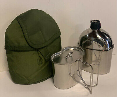 G.I. Style Stainless Steel 1qt. Canteen with Cup and Vented LID .