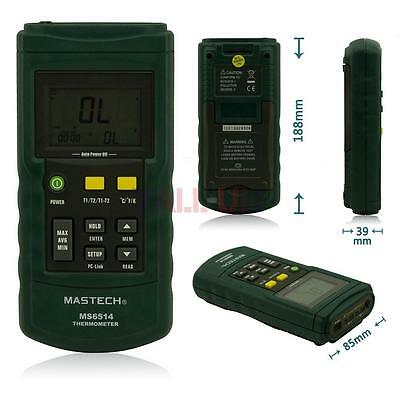MASTECH MS6514 Dual-Channel USB Probe Digital Temperature Thermometer Test Meter