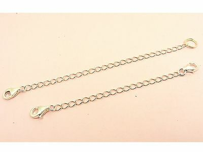 925 Sterling Silver SAFETY Curb Chain Extension EXTENDER Double Loop Ring +CLASP
