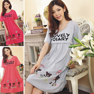 New Summer Pregnant Women Casual Cotton Short Sleeve Nursing  Maternity Dresses