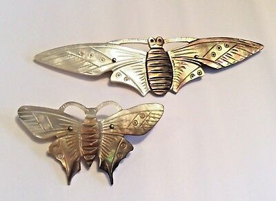 2 x original French Art Nouveau butterfly brooches in carved mother of pearl