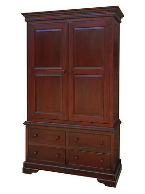 Mahogany Combination Wardrobe-4 Drawers + Hanging Compartment-End Of Line