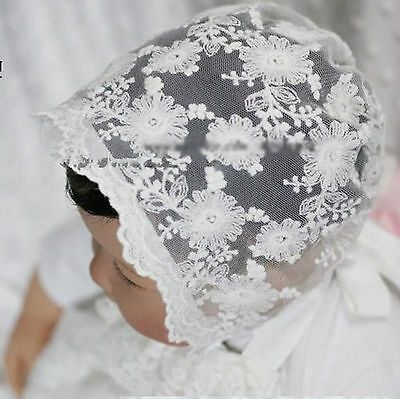 Baby Shower kid Infant Girl Princess Christening White hat beanie cap Bonnet