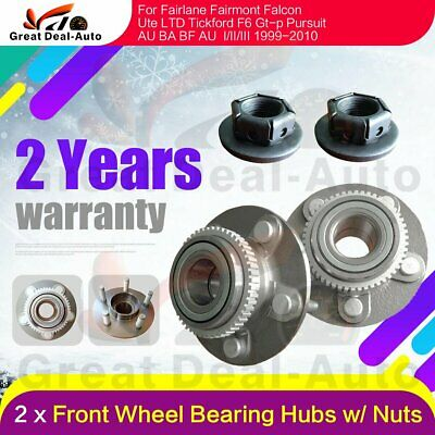 Pair Front Wheel Bearing Hubs Hub w/ Nuts for Ford Falcon Fairlane AU BA BF ABS